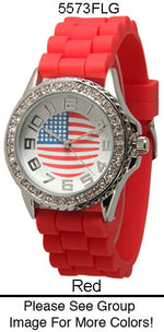 Load image into Gallery viewer, 6 Geneva Ceramic Silicone Style Watches w/rhinestones