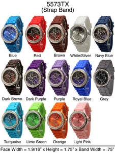 6 Geneva Silicone Band Watches W/Rhinestones
