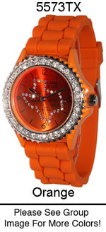Load image into Gallery viewer, 6 Geneva Silicone Band Watches W/Rhinestones