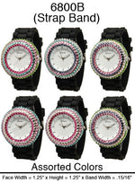 Load image into Gallery viewer, 6 Geneva Silicone Style Watches w/rhinestones
