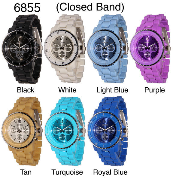 6 Plastic Closed Band Style Watches