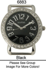 Load image into Gallery viewer, 6 Narmi Solid Bar Watch Faces /W Rhinestones