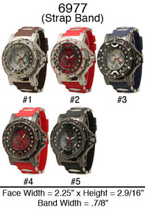 6 Mens Strap Band Watches