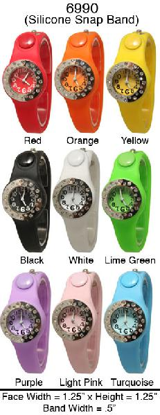 6 Geneva Silicone Snap On Watches