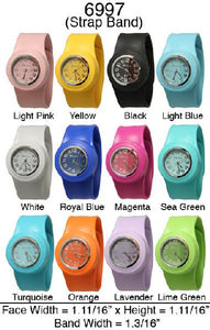 6 Silicone Slap on Watches