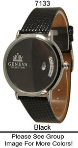 6 Geneva Women's Leather Band Watches
