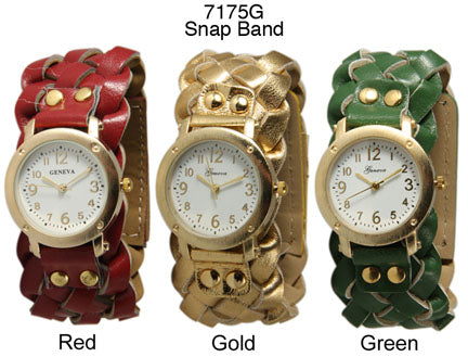 6 Geneva Braided Strap Band Watches