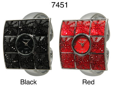 6 Women's Rhinestone Cuff Watches