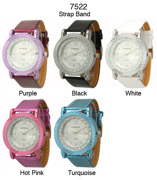 6 Geneva Women's Strap Band Watches