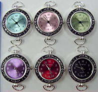 12 Silver Tone Color Loop Watch Faces