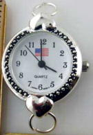 12 Silver Tone American Flag Watch Face