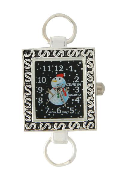 12 Silver Snow Man Watch Face with Loop
