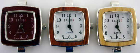 12 Silver tone Wood watch face