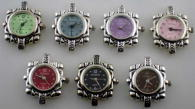 12 silver tone color face beading watch face