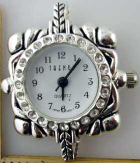 12 Silver big hole with Rhinestone