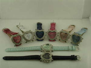 6 Leather  band watches with Rhinestones