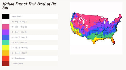First Frost Date Chart listed by State for Garden Harvesting