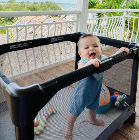 Lil' Sidekick is a fan of the 4moms playard to make moms life easier.