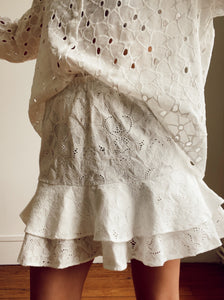 Tulip skirt - White embroidery