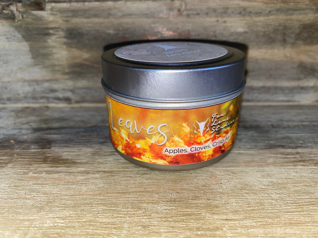 Fall Leaves Tin Candle