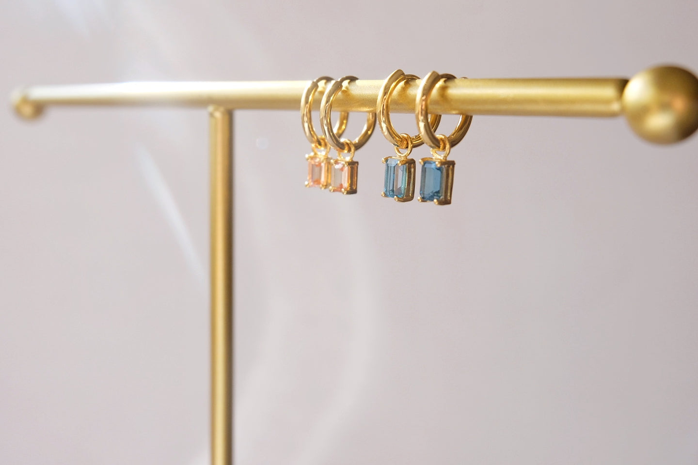 Dangling hoops with birthstone charm