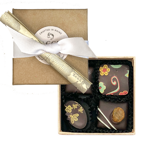Four-Piece Chocolate Party Favor or Thank You Gift - Dark Chocolate Truffles