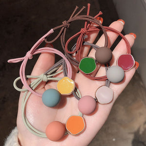 Hair Ties Morandi color Minimalist Fashion Elastic Hair Ring with Beads Ponytail Holder Hair Accessories for Women Girls(5pcs 5 Colors)