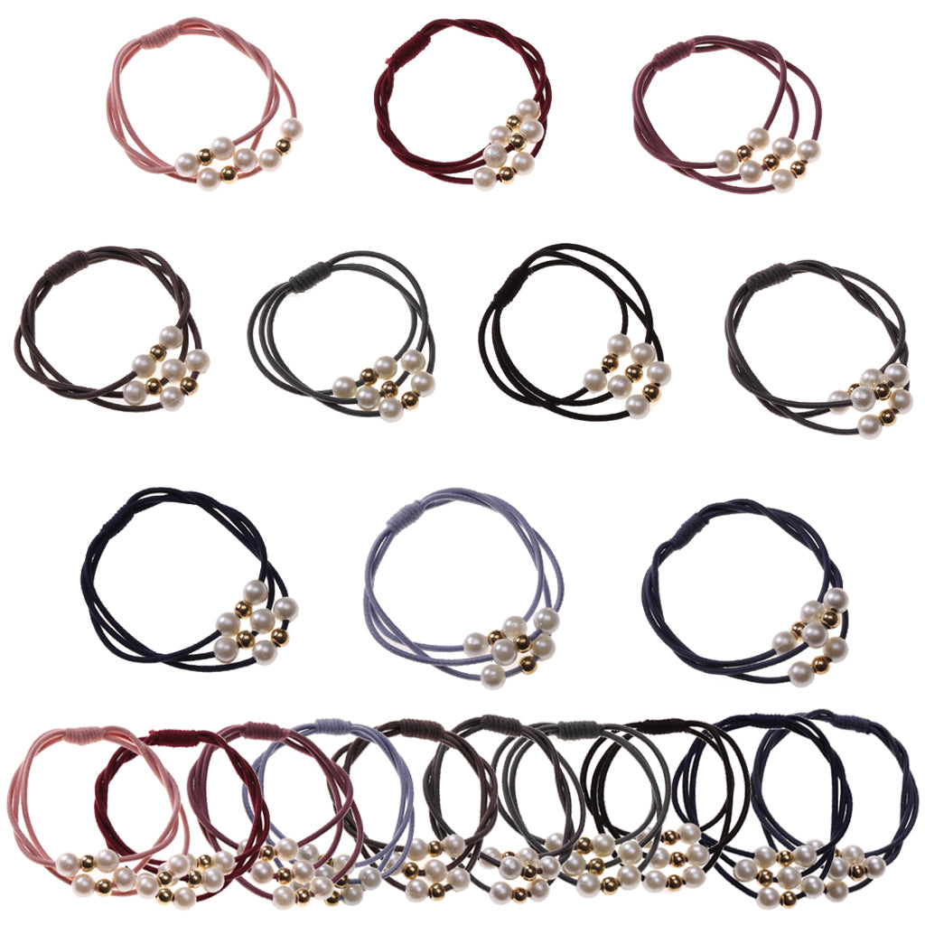 Pearl Hair Ties Multi Layer Elastic Ponytail Holder(20pcs 10 Colors)