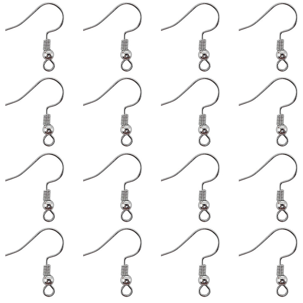 Earring Hooks Hypo-allergenic Ear Wires with Ball and Coil Fish Hook (140pcs 18mm)