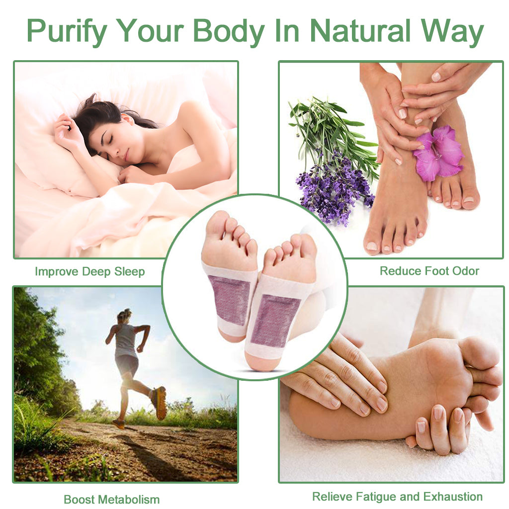 KHAIYA Foot Pads Natural Organic 2-in-1 Relieve Stress Improve Sleep Removing Impurities 20 Patches Lavender Rose