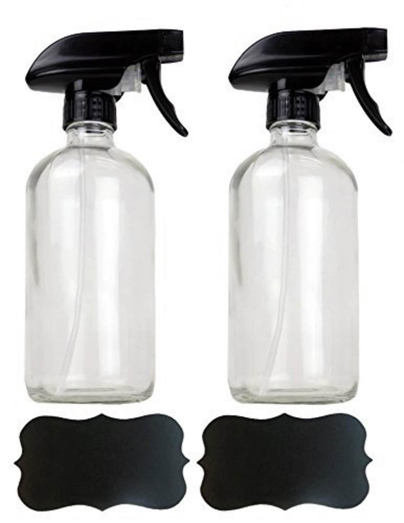 16oz Chalkboard Label Refillable Glass Spray Bottle Set
