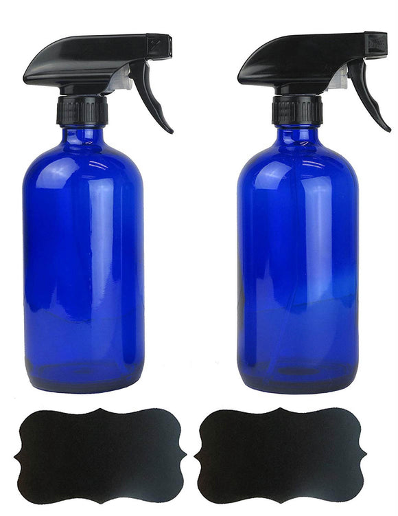 Cobalt Blue 16oz Chalkboard Label Refillable Glass Spray Bottle Set