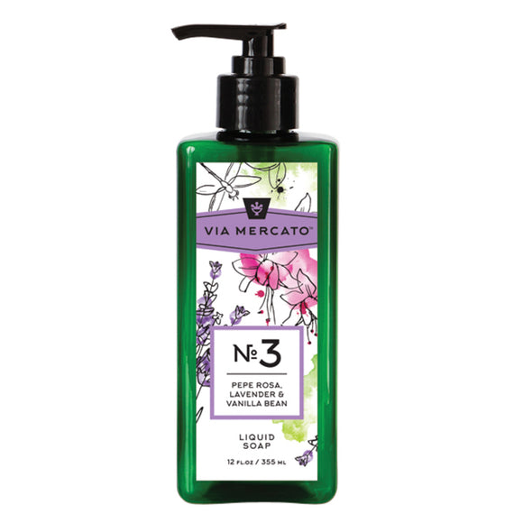Via Mercato Liquid Hand Soap No 3 - Pepe Rose, Lavender & Vanilla