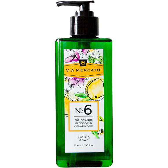 Via Mercato Liquid Hand Soap No 6 - Fig, Orange Blossom & Cedarwood