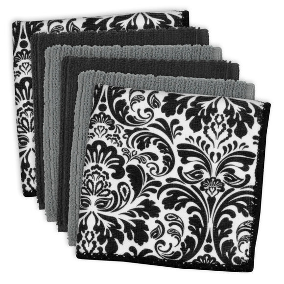 Black Mf Damask Dishcloth Set/6