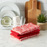 RED DAMASK MF DISHTOWEL SET/4
