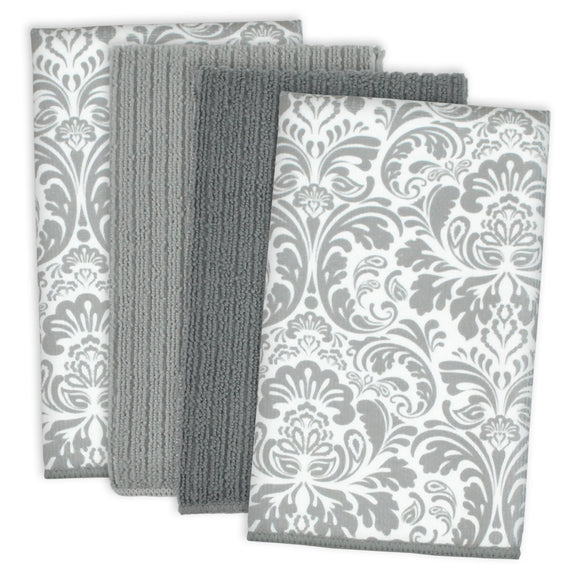 Gray Damask Mf Dishtowel Set/4