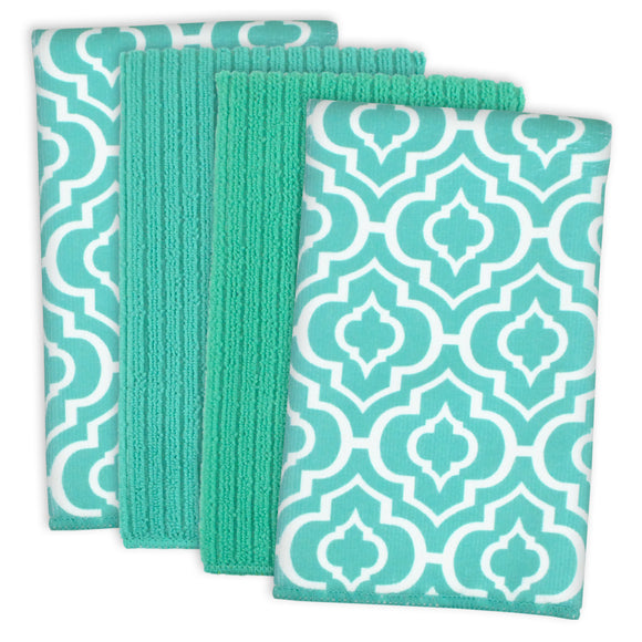 Teal Lattice Mf Dishtowel Set/4