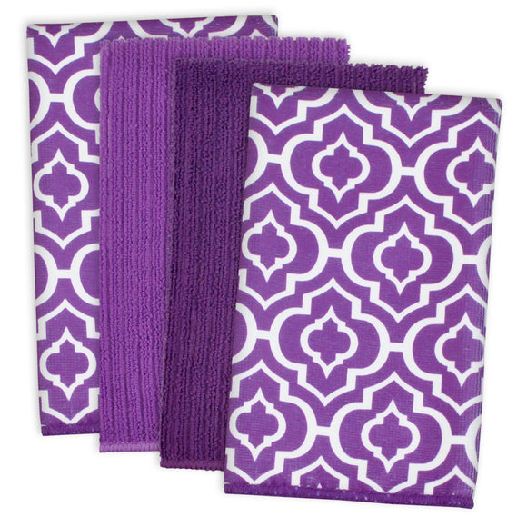 Eggplant Lattice Mf Dishtowel Set/4