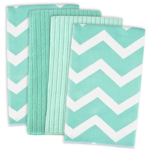 Aqua Chevron Mf Dishtowel Set/4