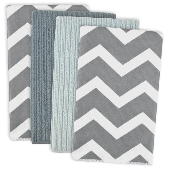 GRAY CHEVRON MF DISHTOWEL SET/4