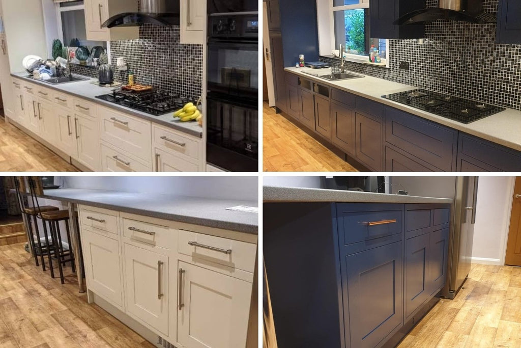 before and after cheap kitchen makeover update