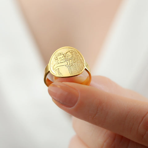 photo engraved ring