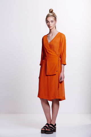 Velde 3/4 Sleeve Wrap Dress