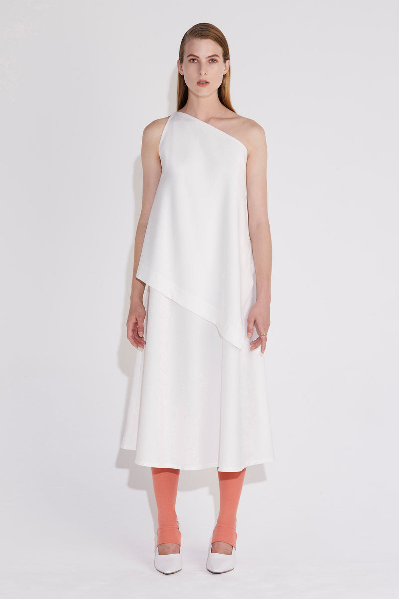Axis Asymmetric Dress - Ivory