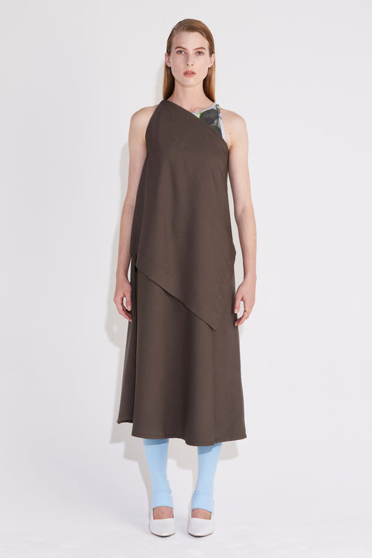 Axis Asymmetric Dress - Khaki