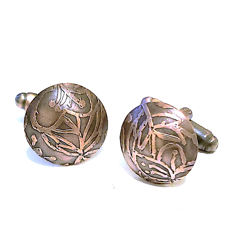 Hibiscus Cufflinks - Copper