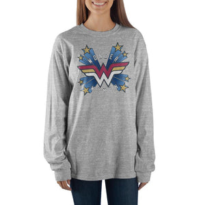Women's Wonder Woman Comic Book Superhero Grey Long Sleeve Shirt