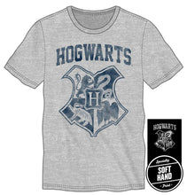 Load image into Gallery viewer, Harry Potter Hogwarts Crest Four Houses Gryffindor Slytherin Hufflepuff Ravenclaw Men's Gray T-Shirt