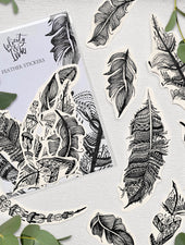 Tribal Feathers | Monochrome Sticker Set - Felicity & Ink